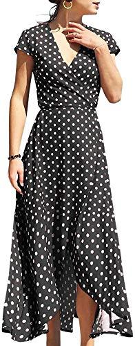 LunaJany Women's Cap Sleeve Polka Dot Lace Up Split Swing Midi Dress