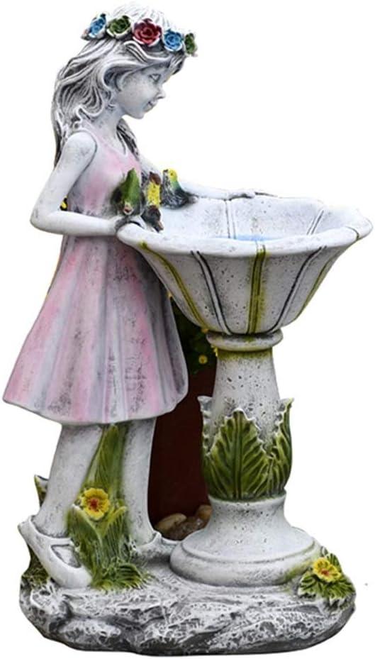 Solar Garden Statue Waterproof Garden Ornament Resin Angel Garden Figurines, Outdoor Garden Flower Fairy Girl Solar Decor, Solar Garden Statue Ornament for Patio, Lawn, Yard, Balcony ( Size : Small )