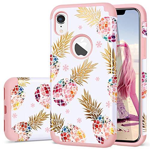 Fingic iPhone XR Cases,Pineapple iPhone XR Case,Cute Pineapple Slim Hybrid Case Hard PC&Soft Rubber Anti-Scratch Protective Case for Ladies Girls Cover Cover for Apple iPhone XR 6.1 inch,Rose Gold - Ladies Rose Gold Case