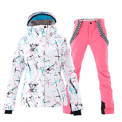 Mous One Women's Waterproof Ski Jacket Colorful Snowboard Jacket and Pink Bib Pant Suit(S)