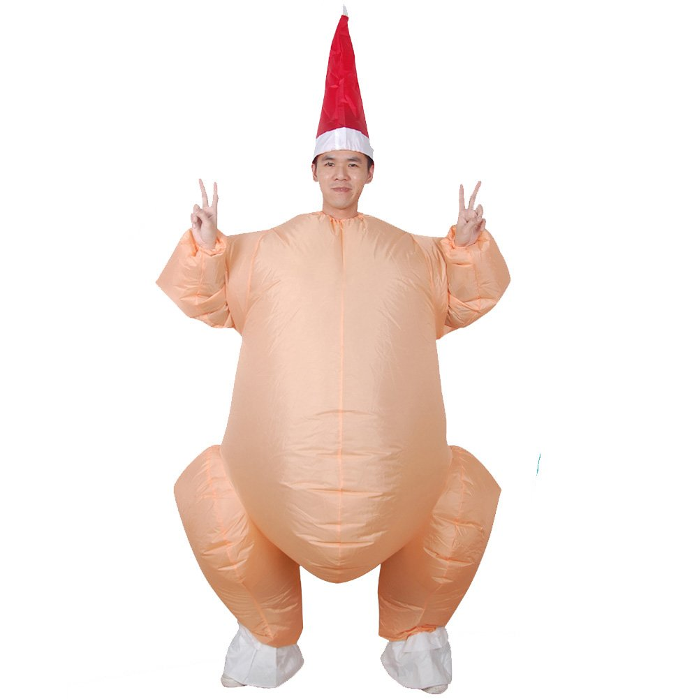 Vantina Inflatable Adult Costume Funny Turkey Jumpsuit Cosplay Thanksgiving Suit