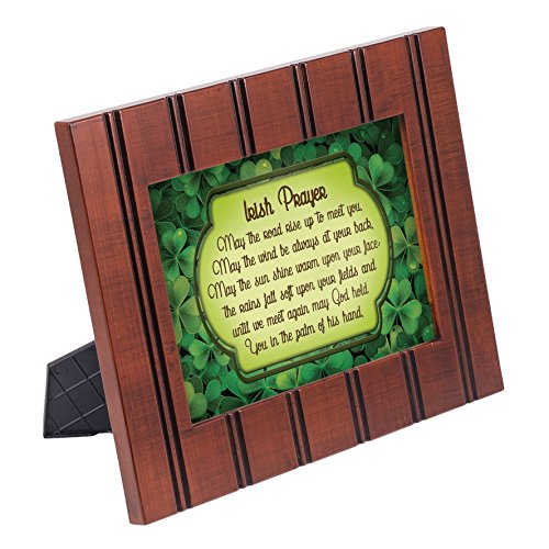 Irish Blessing Green Shamrocks 8x10 Woodgrain Framed Art Wall Plaque Sign ()