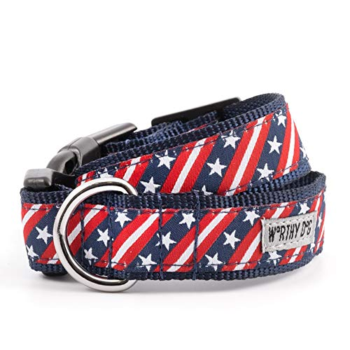 Cool Stripe Dog (The Worthy Dog 21958-4201XS Bias Stars and Stripes Patriotic Adjustable Designer Pet Dog Collar)
