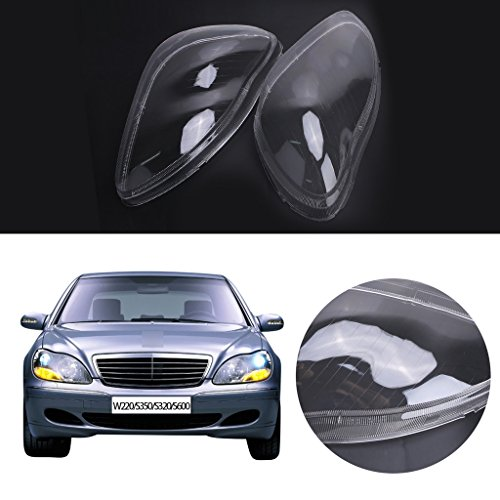 (Jade 1 Pair Headlight Headlamp Clear Lens Plastic Shell Cover for Mercedes Benz W220 S350 S600 2000-2006 )