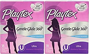 Playtex Gentle Glide Ultra Tampons, Unscented, 18 Count (Pack of 2)