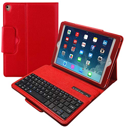Eoso Keyboard Case for iPad Pro 9.7, iPad Air 1 and 2 Folding PU Leather Folio Cover with Removable Bluetooth Keyboard (Red)