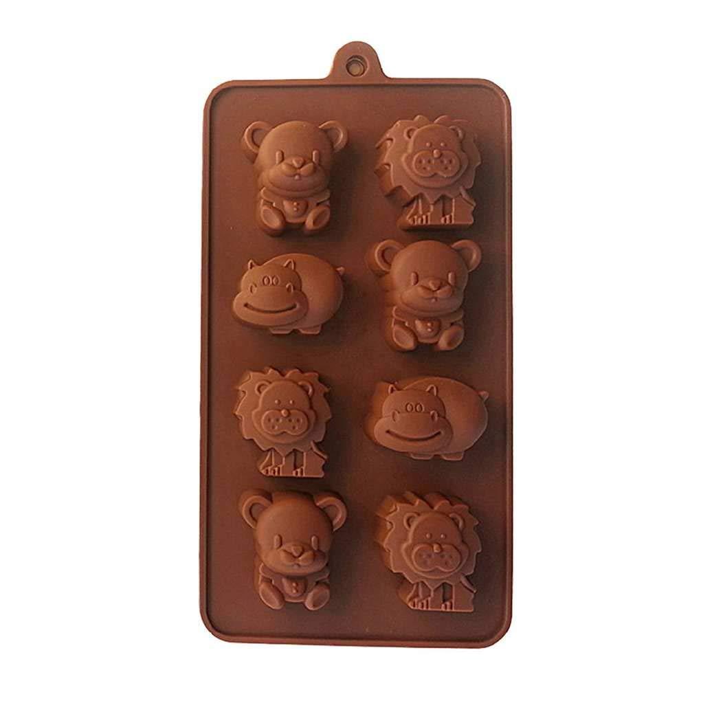 Rekkles 8 Grille Hippo 3D Ours Lion Bricolage gâteau Moule Petit Chocolat Jelly Animaux Savon Bricolage Cuisine Moule ustensiles de Cuisson