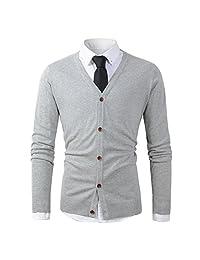 Mens Casual Slim Fit Basic Designed Button Down V-Neck Cardigan