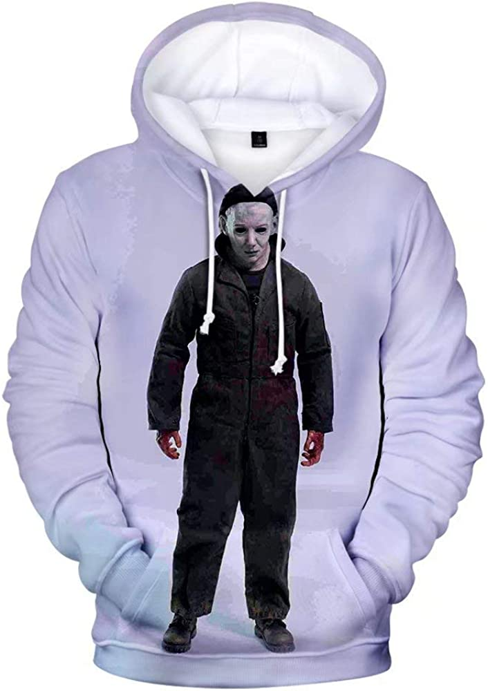 Hibuyer Mens 3D Printing Adult Zip up Hoodie Sweatshirt Halloween Cosplay Costume