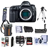 Canon EOS 5D Mark IV Digital SLR Camera Body USA Warranty - Bundle with 64GB U3 SDXC Card, Holster Case, Tripod, Spare Battery, Battery Grip, Screen Protector, Software Package and More