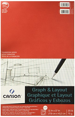 Canson Foundation Series Graph and Layout Paper Pad with Non Reproducible Blue Grid, 20 Pound, 4 by 4 Grid on 11 x 17 Inch Paper, 40 Sheets