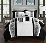Chic Home Clayton 10 Piece Comforter Set Pintuck Pieced Block Embroidery Bed in a Bag with Sheet Set, Queen Black White