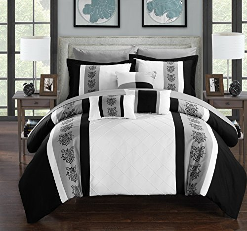 Chic Home Clayton 10 Piece Comforter Set Pintuck Pieced Block Embroidery Bed in a Bag with Sheet Set, Queen Black White (Black And Gray Bedding Sets)