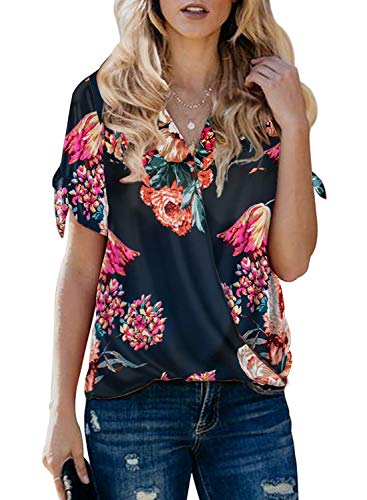 (Itsmode Floral Print Chiffon Blouses for Women Short Sleeve Ladies Cold Shoulder Bow Tie V Neck Wrap Front Tunic Flare Shirts Loose Tops Blue Medium)
