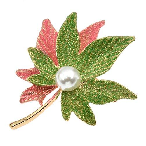 Alloy Crystal Maple Leaf Glitter Powder Enamel Brooches Imitation Pearl Female Pins Rhinestone Women Brooches Jewelry Pink Green
