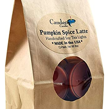 Pumpkin Spice Latte, Fall Scented Soy Tealights, 12 Pack Clear Cup Candles, Autumn Scented
