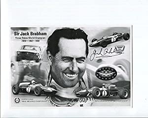 JACK BRABHAM LOT OF 2 HAND SIGNED 5x8 PHOTOS+COA GREAT FORMULA 1 LEGEND - Autographed Extreme Sports Photos by Sports Memorabilia