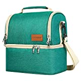 Insulated Lunch Bag, Dual Compartment Lunch Tote Box Leak-proof Bento Organizer, Double Deck