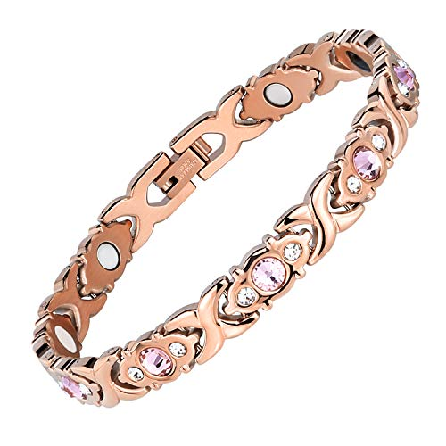 Hottime Women's Fashion Magnetic Therapy Bracelet Crystal Gem Health Energy Jewelry Gift for Arthritis and Carpal Tunnel (Rose Gold)