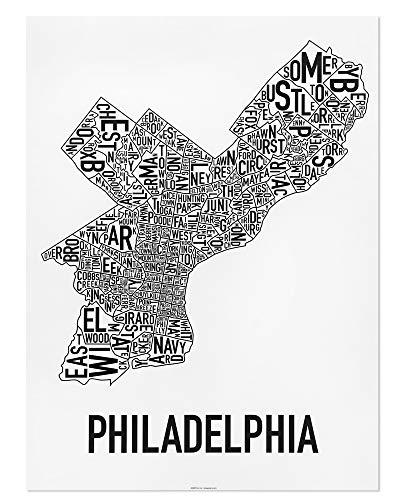 Philadelphia Neighborhoods Map Art Poster, Black & White, 18
