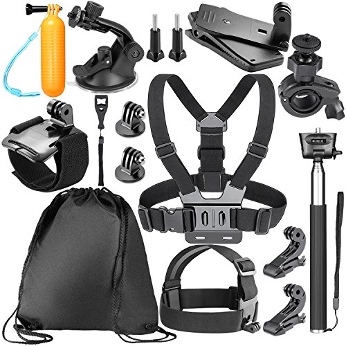 Neewer - Kit de Accesorios 14-en-1 para cámara de acción GoPro Hero 7/6/5 1 2 3 3+ 4 Hero Session 5 SJ4000 5000 6000, Negro