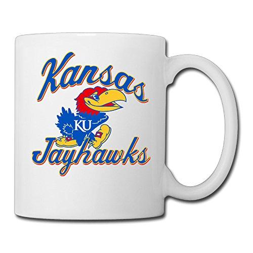 White Kansas Jayhawks Ceramic Tea Cup 11oz Unisex Printed On Both Sides ()