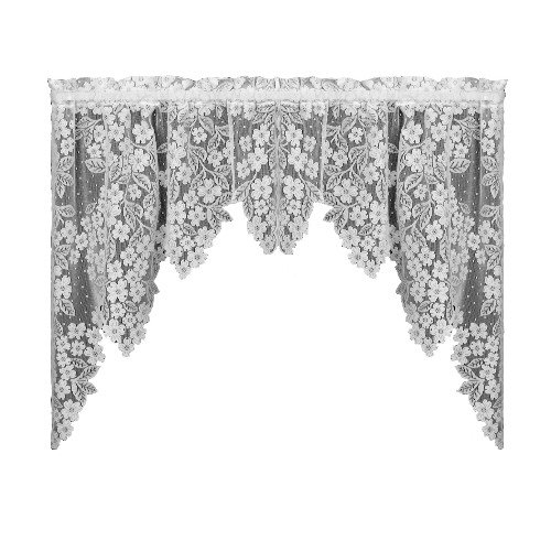Heritage Lace Dogwood 70-Inch by 38-Inch Drop White Swag Pair from Heritage Lace