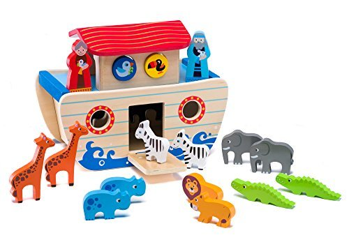 Wooden Noah's Ark Playset: Educational Chunky Animal Toys in Pairs for Toddlers, ColorfulNon-Toxic Paint, Smooth Edges Safe Figurines Easy to Hold, Preschool Boys and Girls, Motor and Sorting Skills from Ray's Toys