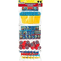 "Amscan Fun Filled Disney Mickey Mouse Super Mega Mix Value Set Birthday Party Favour, Plastic , 24"" x 9"" , Pack of 100"