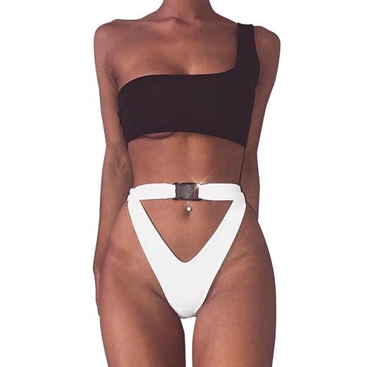 b0c015dcf8099 Amazon.com  Gocheaper Women Sexy Buckle One Shoulder Bikini Set Push-Up  Padded Swimwear Bathing Swimsuit Beachwear  Clothing