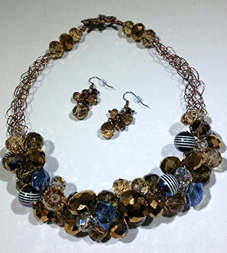 Bronze Beauty Crocheted Wire Necklace and Earrings