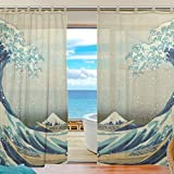 Cheap SUABO 2PCS Window Gauze Curtains, Great Wave off Kanagawa Sheer Window Curtain Panels for Bedroom Living Room 55″ W x 78″ L