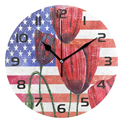 - TropicalLife American Flag Tulip Flower Decorative Wall Clock Acrylic Round Clocks Non Ticking Art Decor Bedroom Living Room Kitchen Bathroom Office School