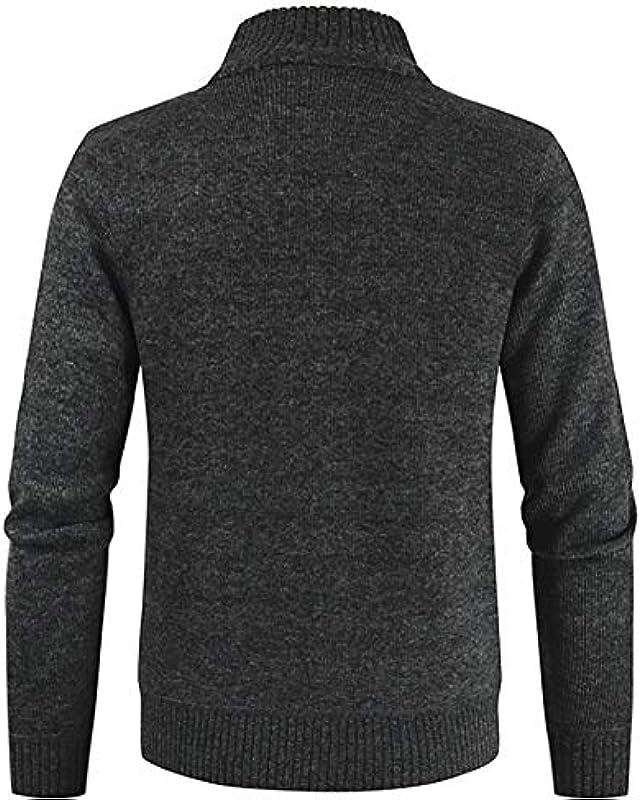 ZHNELYJ Winter Męskie Samtpullover, Casual Contrast Cardigan Sweater Stehkragenjacke: Odzież