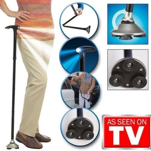 Trusty Cane LED Folding, Walking,Triple Head Pivot Base Hurry Now As Seen on TV 3 built-in LED lights, features 1 forward and 2 down to light your way -