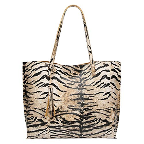 (Tote Bag for Women, Valentine's Day Gift! Fashion Synthetic Leather Hasp Shoulder Bag Tiger Grain Leopard Hand Bag )