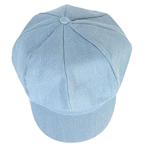 DDLBiz Fashion Women Beret Hat Joker Jean Blue Newsboy Pure Color Octagonal Cap ()