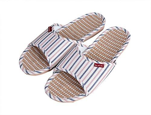 Slip On Zapatillas Happy Lily antideslizante sandalias de puntera abierta Unisex parejas orgánico lino Mules absorbe la humedad Cool lino zapatos zapatillas de interior o al aire libre azul marino