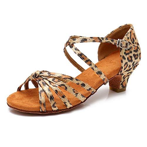 HROYL Women's Satin Latin Dance Shoes Ballroom Salsa Tango Performance Shoes Low Heel Model-WH-DJ-XGG Leopard 7 B(M) US