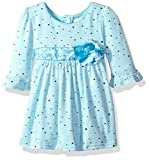 Youngland Baby Girls' Sparkle Sweater Knit Dress With Flower Detail, Aqua, 6-9 Months