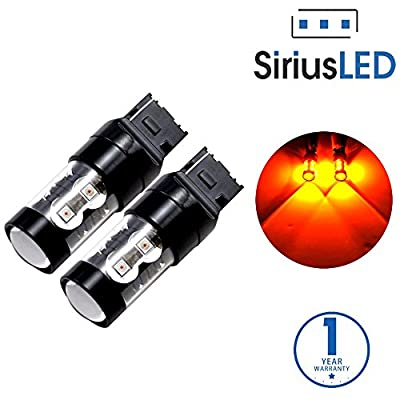 SiriusLED Extremely Bright 50W 7440 7441 992 T20 LED Bulbs with Projector for Turn Signals Reverse Backup Brake Tail Lights Amber Yellow