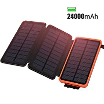 ADDTOP Caricabatterie Solare 24000mAh Impermeabile Power Bank