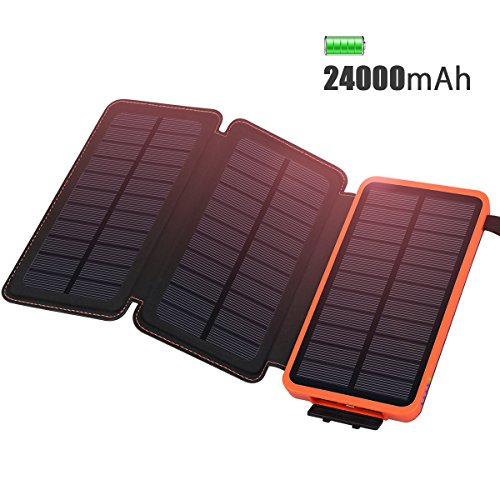 Solar Charger 24000mAh, ADDTOP Power Bank Waterproof Portable External Battery Pack for iPhone, ipad, Samsung, Huawei and More Outdoor