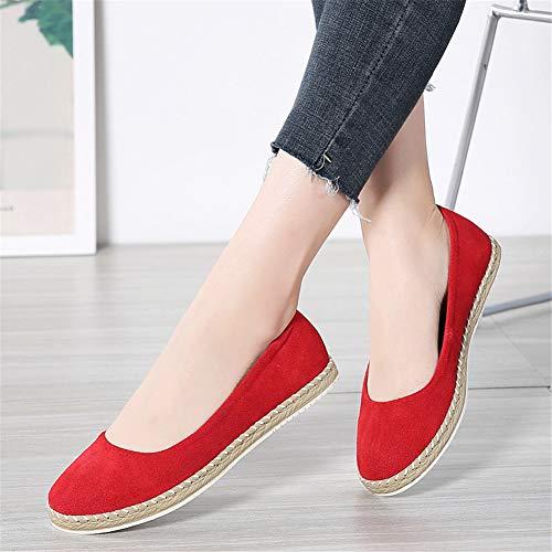 Molti Flats On Tinta Unita Colori 36eu 42eu Scarpe Durevole Casuale Moda Slip Rosso Donna Loafers qX8vxzYqw