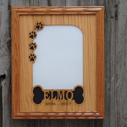 11x14 Personalized Dog Picture Frame with Name - Bone & Paw Prints - Dog Bone Picture Frame
