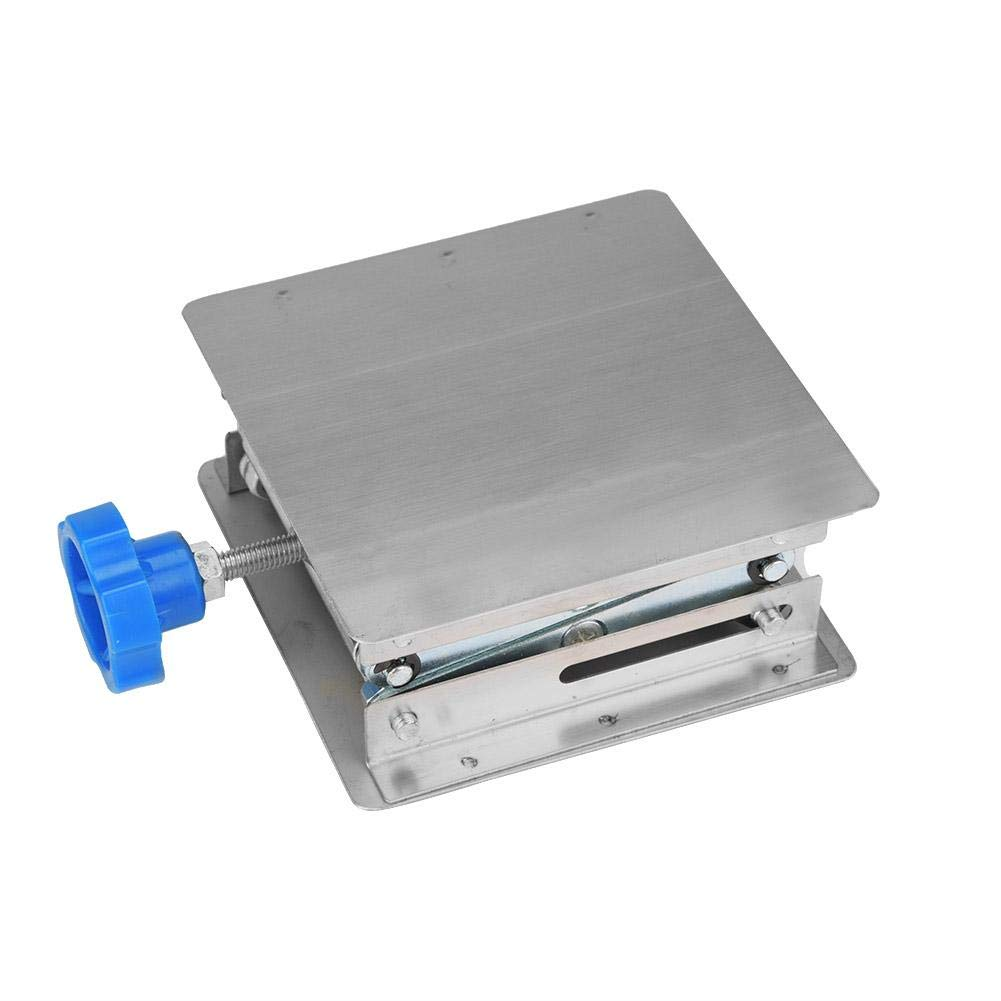 Laboratory Lifting Platform Stainless Steel Lab Lifting Platform Stand Rack Scissor Lab-Lift 100100160mm(Blue Handle)