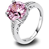 Amethyst Pink Blue White Gemstone Women AAA Silver Ring Size 6 7 8 9 10 11 12 13#by pimchanok shop (11, 507 Pink Topaz)