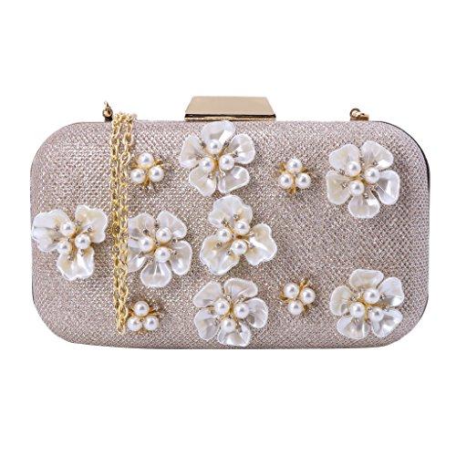 Wedding Bag Women Evening Beaded Clutch Handbag Party JAGENIE Purse Flower Prom Pearl gaq01xn