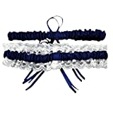 Software : Napoo Hot 34cm Lace Pearl Stretch Elastic Prom Garter Butterfly Garters Ribbon For Bride Dress Wedding (Navy)