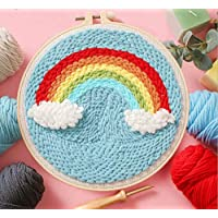 Escolourful DIY Rug Hooking Kit Woolen Embroidery Kit Latch Hook Kit with Tools Creative Gift for Adults Kids Beginner